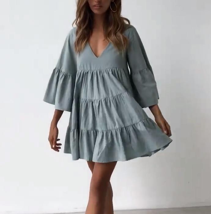 Шерстяная ткань для платья с воланами