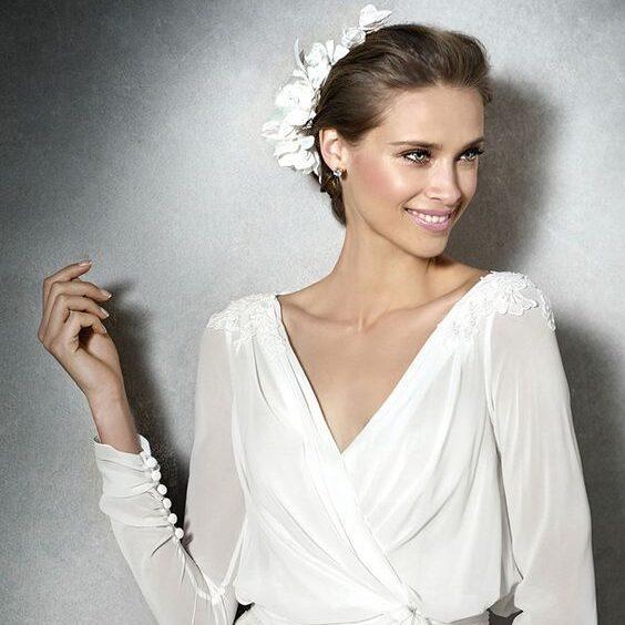 Ткань шифон для свадебного платья с рукавами